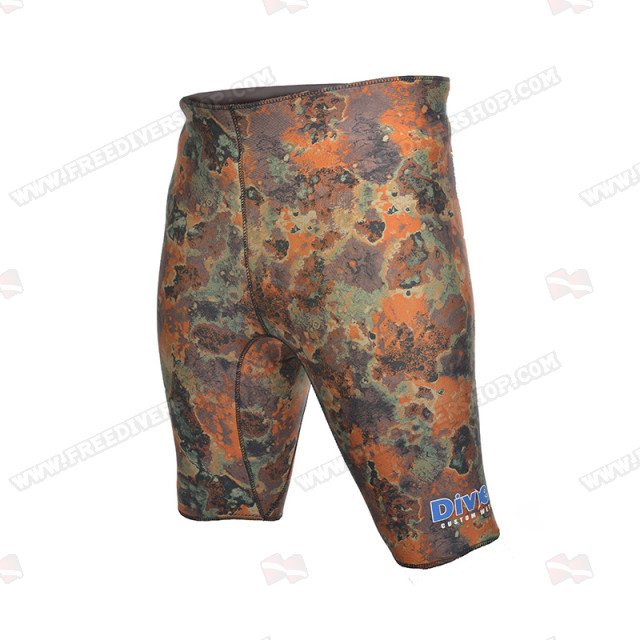 Divein Orange Camo Neoprene Bermuda Shorts